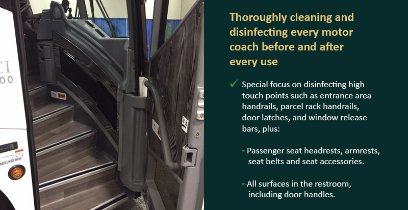 Thoroughly cleaning and disinfecting every motor coach